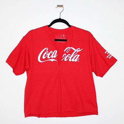 Coca Cola Cropped Cutoff V-Neck Top Medium