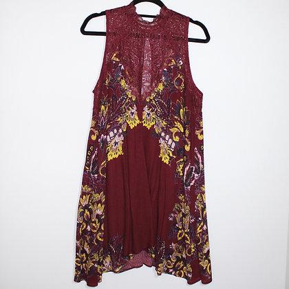 Free People Maroon High-Neck Dress Size Medium