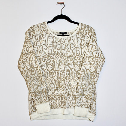 XOXO Gold White Crew Neck Sweater Medium