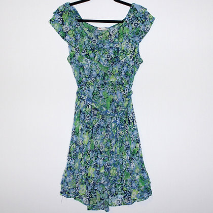 Ruffled Floral Green and Blue Mini Dress Large