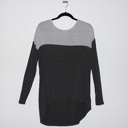 Grey Color Block Long Sleeve Size Large