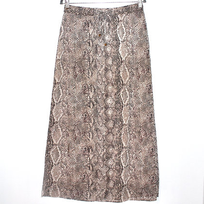Snake Print Beige Maxi Skirt Medium