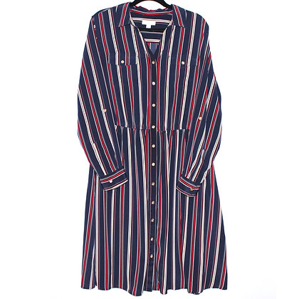 Charter Club Blue Striped Button Up Dress