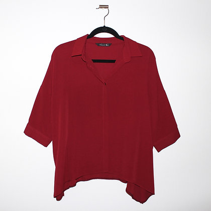 Deep Red Button Down Blouse Large