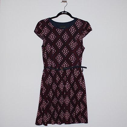 Maroon Patterned Mini Dress w/ Belt Large