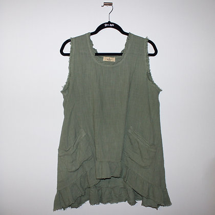 Made In Italy Army Green Tank Top Large