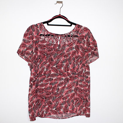 Weaving Collar Detail Tropical Red Top Large
