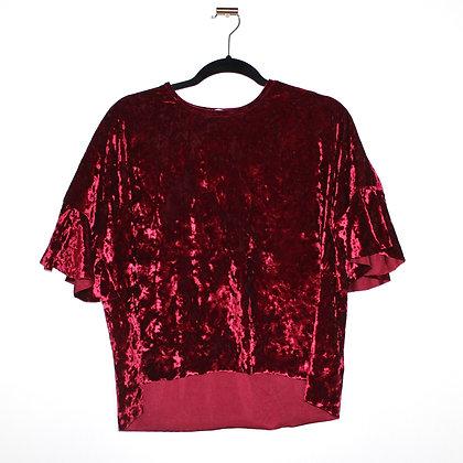 KOTON Pinkish Red Velvet Velour Top Medium