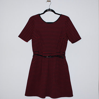 Dark Red and Black Striped Mini Dress Size Large