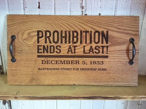 "oak ""prohibition"" cocktail serving tray"