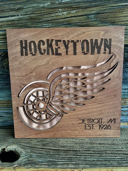 """12"""" x 12""""detroit red wings sign"""