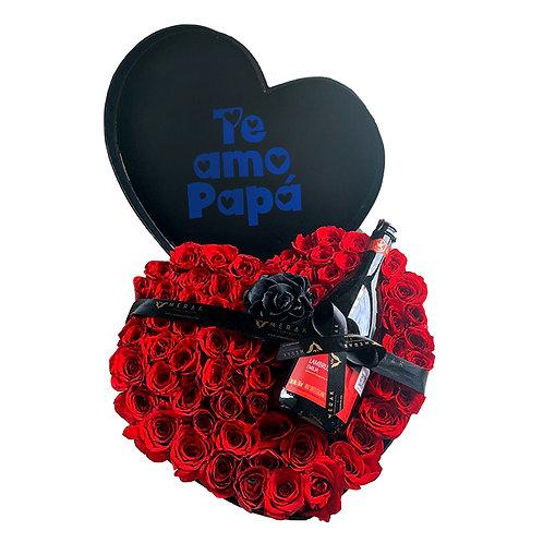 Corazón con rosas y vino