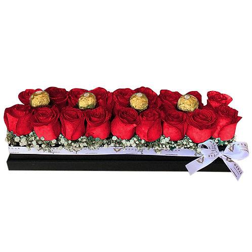 Caja de rosas extendida
