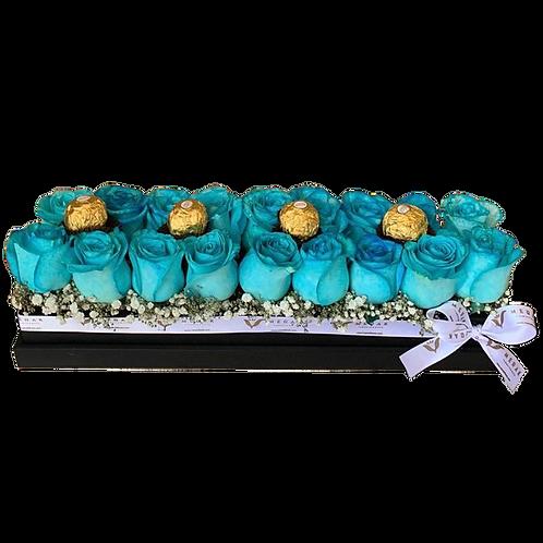 Caja de rosas y chocolates extendida