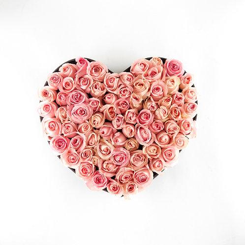 Corazón de rosas mediano