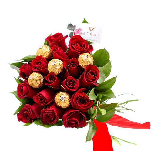 Bouquet de rosas y chocolates