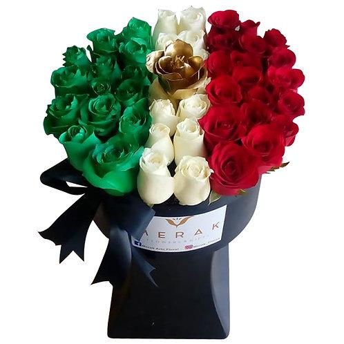 Caja grande de rosas tricolor