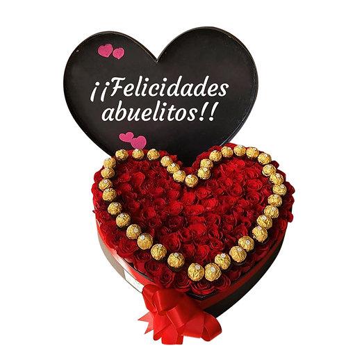 Corazón con 100 rosas y 20 chocolates