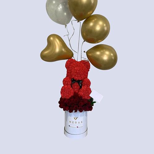 Oso de flores y globos