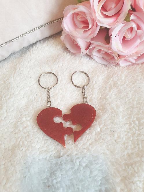 Puzzle Heart Keyring