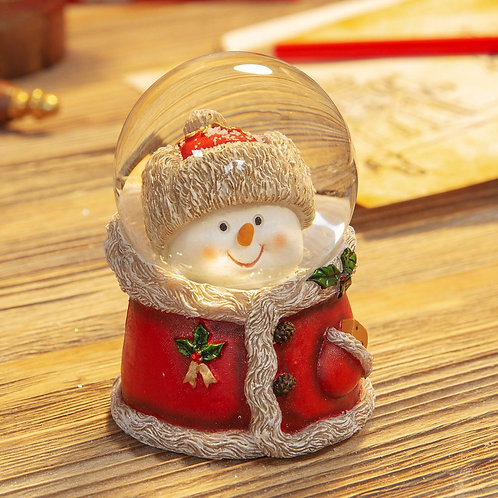Snow globe snowman in coat