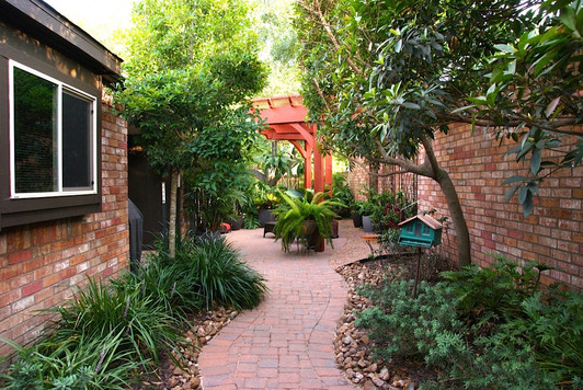 Houston Oasis, path to patio