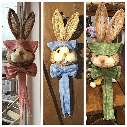 Sisal Bunny Head w/ Bonnet & Bow
