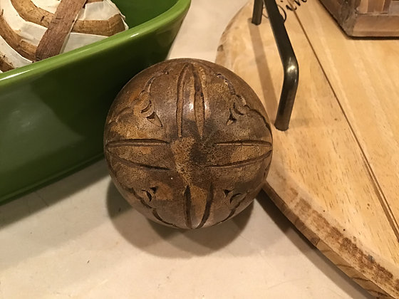 Decorative Carved Wood Ball