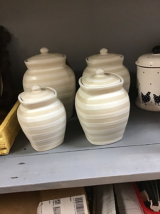 4 Piece Striped Canister Set