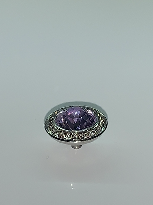 Violet 13mm TONDO Deluxe Black Diamond-Bordered Topper