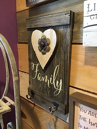 Family Barn Board Sign w/ 2 Hooks