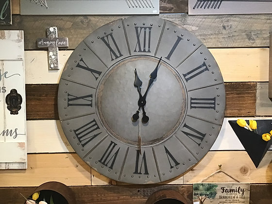 Round Wall Clock - Aged Gray