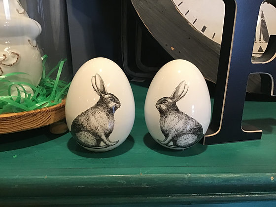 White Ceramic Eggs w/ Rabbit Motif