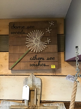 """String Wishes Wood Sign - 12"""" Square"""