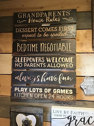 """Grandparents House Rules Sign - 17"""" x 23.5"""""""