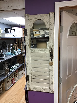 Distressed White Wood Shutter Panel w/ Inset Mirror