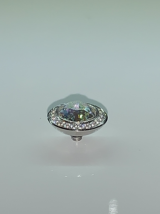 White Patina 13mm TONDO Deluxe Crystal-Bordered Topper