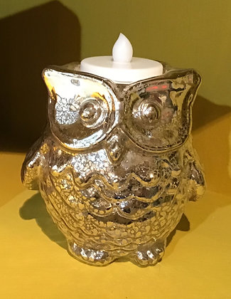 Owl Votive Candle Holder - Mercury