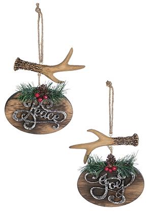 Joy/Peace w/Antler Ornament