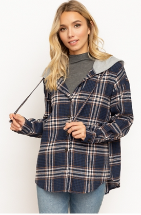Button Down Plaid With Contrasting Hoodie