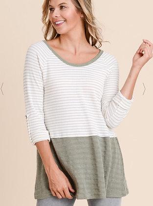 Stripe Long Sleeve Shirt w Contrast Hem