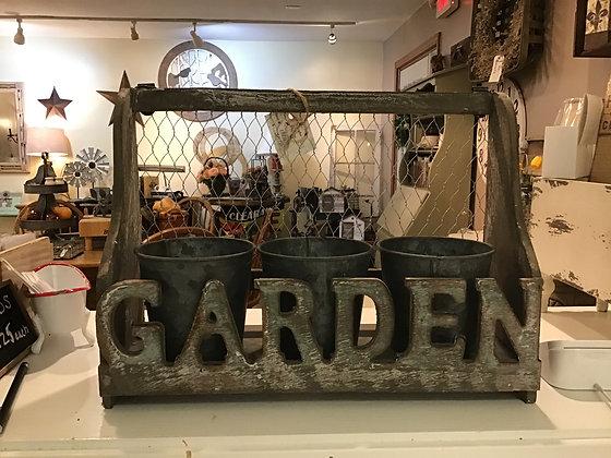 Wood Garden Shelf w/ 3 Pots