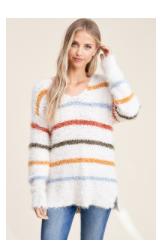 Staccato V-Neck Striped Sweater