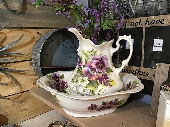 Vase/Pitcher and Bowl Set