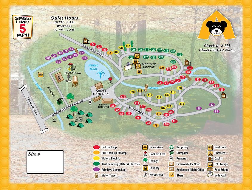 Honey Bear Campground Map