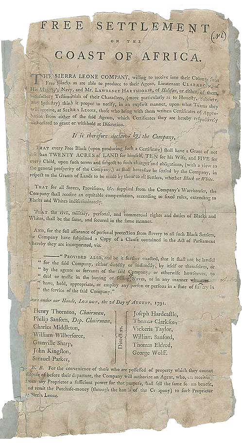 Declaration of Sierra Leone Company of their readiness to receive free Blacks in their colony.