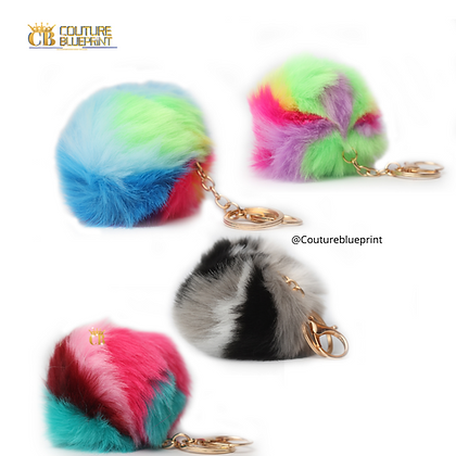 Multi-color Puffball Keychain