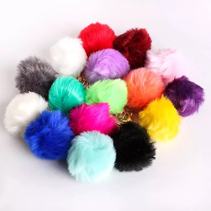 12 Puff ball keychain