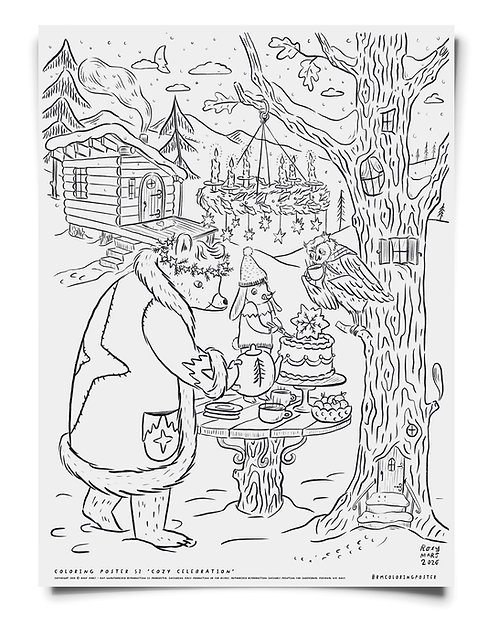 Cozy Celebration -  Coloring Poster Download