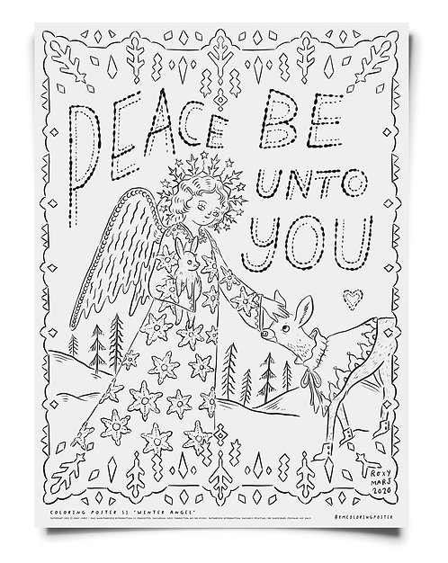 Winter Angel-  Coloring Poster Download